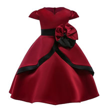 Wine Red Big Bow Flower Girls Dress Elegant Red Party Princess Costume Cute Design Soft Cotton Lining Dress for Kids(China)