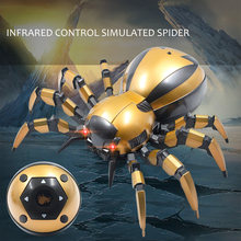 Kids Toys Infrared Remote Control Mechanical Spider with LED light Sound Gifts RC Toys for Children(China)