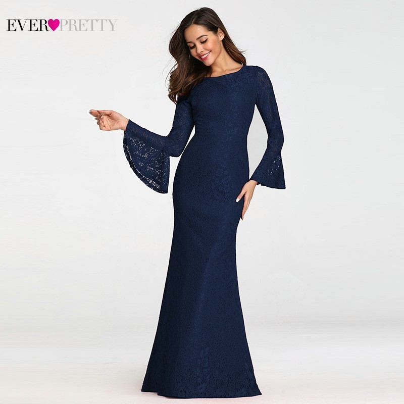 Ever Pretty Muslim Evening Dresses Long Elegant Full Lace Red Long Sleeve Cheap Formal Prom Gowns EZ07798 Abendkleider 2019-in Evening Dresses from Weddings & Events