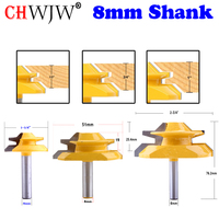 CHWJW 3PC 8mm Shank 45 Degree Lock Miter Bit Glue Joint Set Woodworking cutter Tenon Cutter for Woodworking Tools