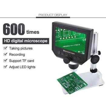 BEST 600X Digital Microscope Electronic Video Microscope LCD Soldering Phone Repair Endoscope Magnifier+Metal Stand