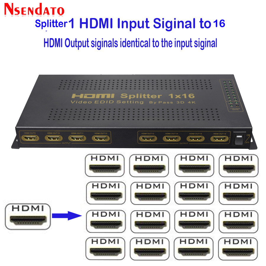 HDMI 4k 30Hz Splitter 1X16 4Kx2K 1 In 16 Out HDMI Switch Converter with Power adapter For Dolby 3D HD DTS LPCM7.1 HDTV Monitor