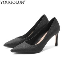 Women Glitter Leather Elegant Pointed toe High Heels Sexy Ladies Thin Heel Black Silver Pumps Fashion Shoes On Plus Size A108 недорого