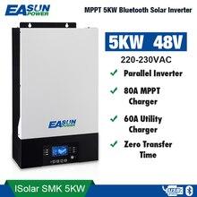 EASUN כוח 5000W Parallelable שמש מהפך אפס העברת זמן 80A MPPT 60A AC מטען 48Vdc 230Vac עם Bluetooth ניטור