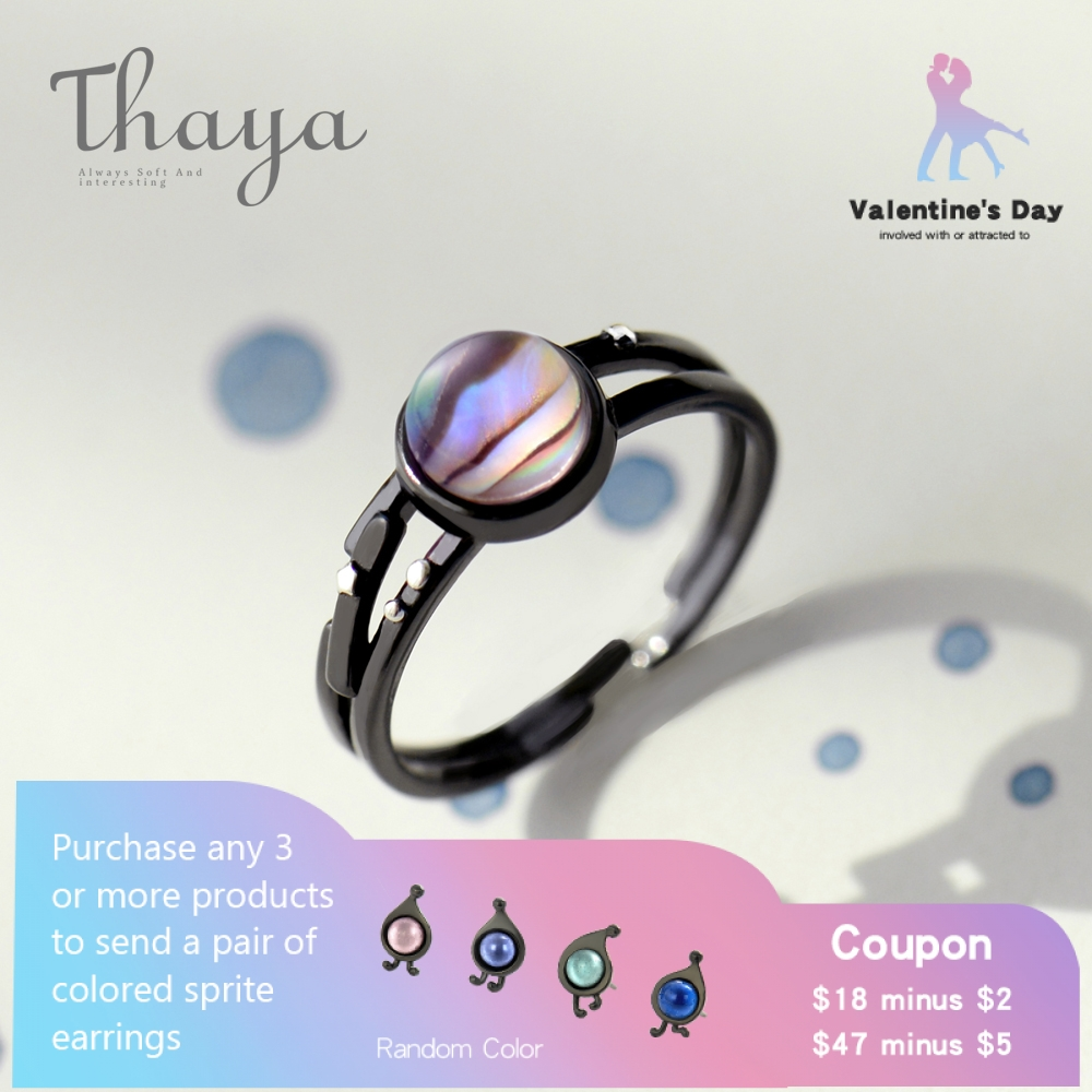 Thaya Stars Milky Black Vintage Ring Magical Gem Stone 925 Sterling Silver Get together Vogue Anniversary Handmade Jewellery Ladies Present