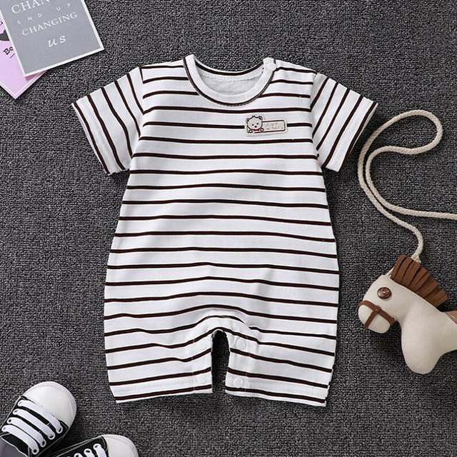 Baby Cotton Onesies Short sleeves Clothes Cartoon Summer 2019 Romper Toddler Boy Girl Pajamas New Born Baby Clothes