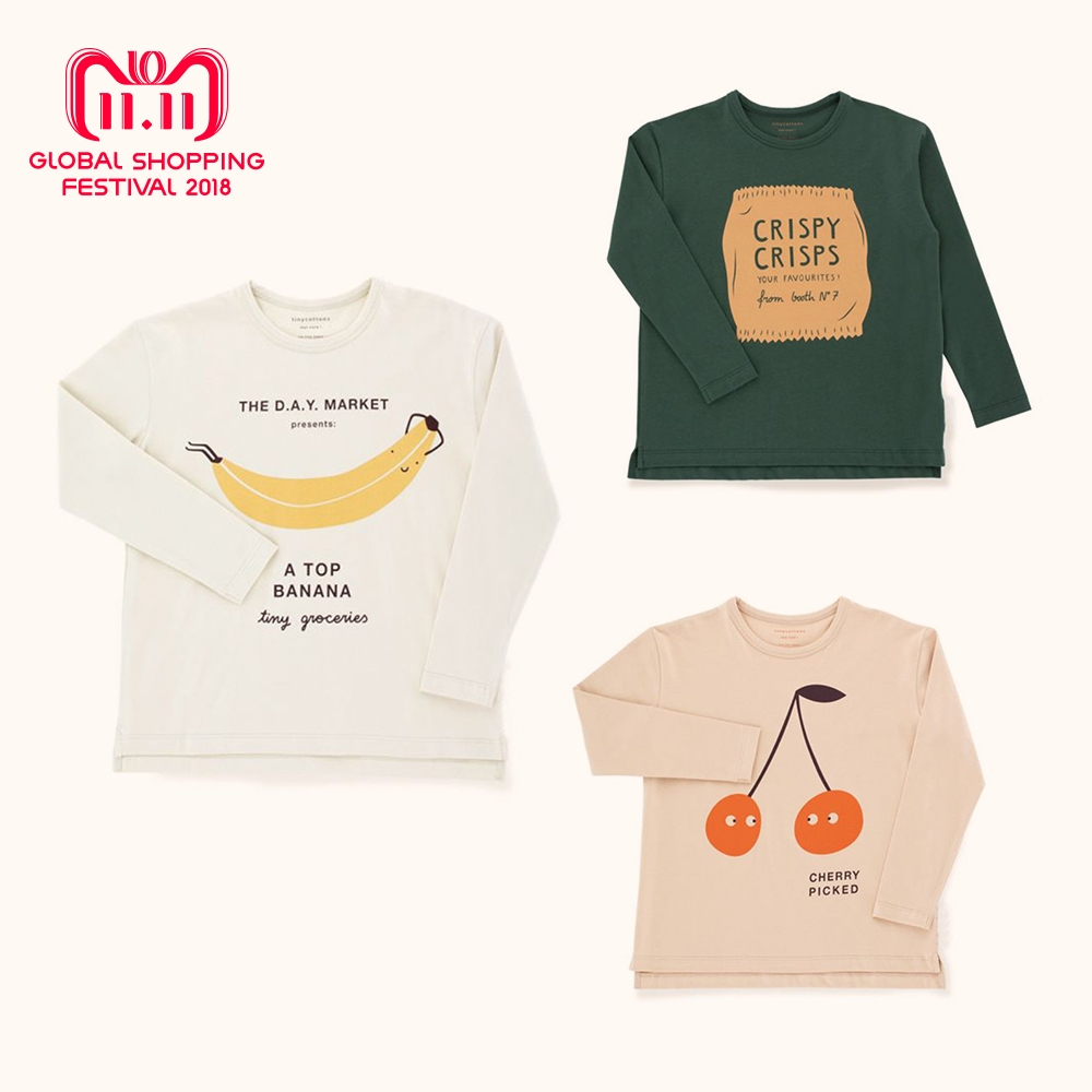 все цены на Kids Boy Tshirt Tiny Cottons 2018 Autumn Toddler Girls Print Tops Boys Long Sleeve Friendly Bag Graphic Cheap Tee Shirt Clothes