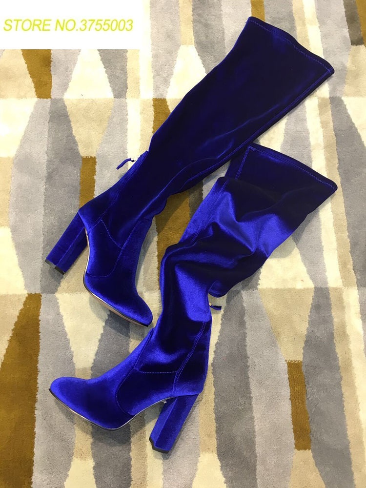 2018 Spring Fashion Blue Velvet Women Sexy Over The Knee Boots Pointy Toe Ladies Chunky Heel Knight Boots Stretch Material Boots2018 Spring Fashion Blue Velvet Women Sexy Over The Knee Boots Pointy Toe Ladies Chunky Heel Knight Boots Stretch Material Boots