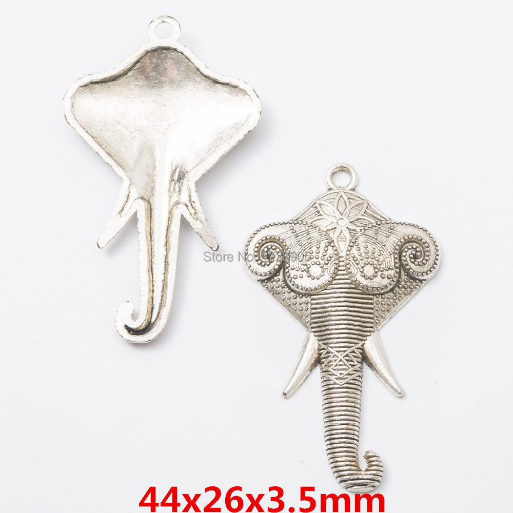 2Pcs Antique Silver Hammered Elephant Head Charms Pendants DIY Jewelry Findings