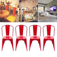 Portable 4pcs Steel Backrest Chairs Home Garden Lounge Furniture Kit for Cafe Gatherings Dining Stool Red Black