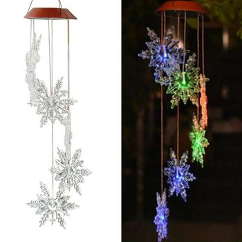 Color-Changing LED Solar Snowflake Pattern Wind Chime Garden Decoration Aeolian Bells Yard Hanging Pendant Electric Windbell