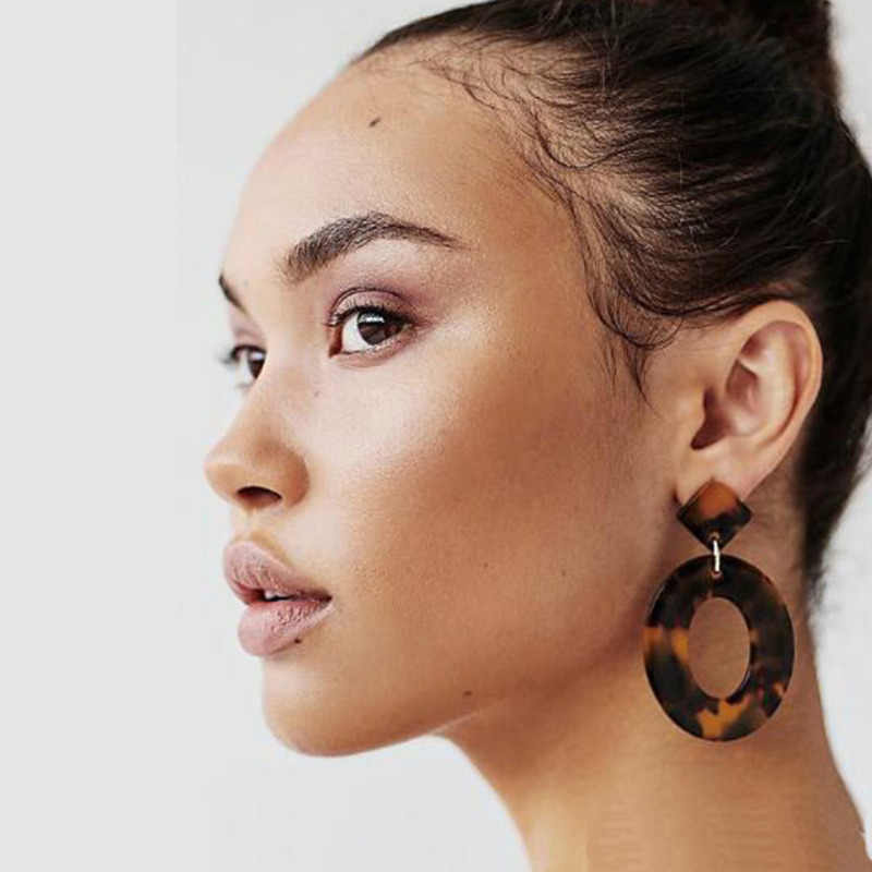 2019 Fashion Jewelry Acrylic Resin Oval  Earrings For Women Geometry Big Circle Tortoiseshell Earrings Acetate Brincos M05