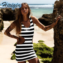 Summer Sexy Dresses Women O-Neck Sleeveless Bodycon High Waist Mini Striped Bare Dress