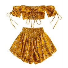 Women Set Off Shoulder Slash Neck Cinched Floral Short Sleeves Crop Top High Waist Shorts Beach Boho Suits Summer