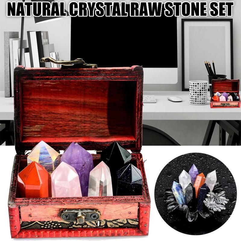 5 PCS Colorful Natural Crystal Raw Stone Set Quartz Crystal Stone Point Healing Hexagonal Wand Treatment Stone For Home Decor