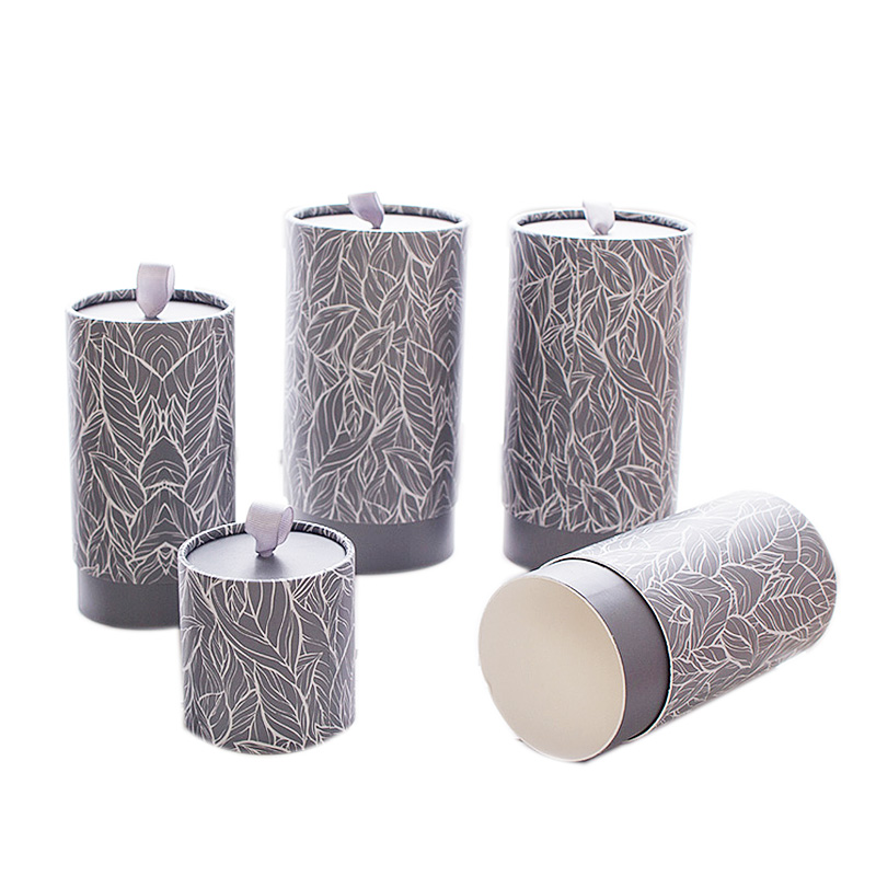 Xin Jia Yi Packaging Magnetic Paper Gift Box Round Shpae White Cardboard Paper Box Black Color Tea Leaves Gift Paper Tube Boxes