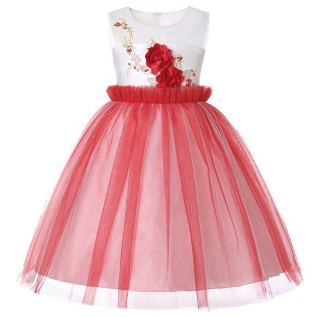 3 14 Diamond Flower Girls Trailing Dress Kids Princess Lace Dress
