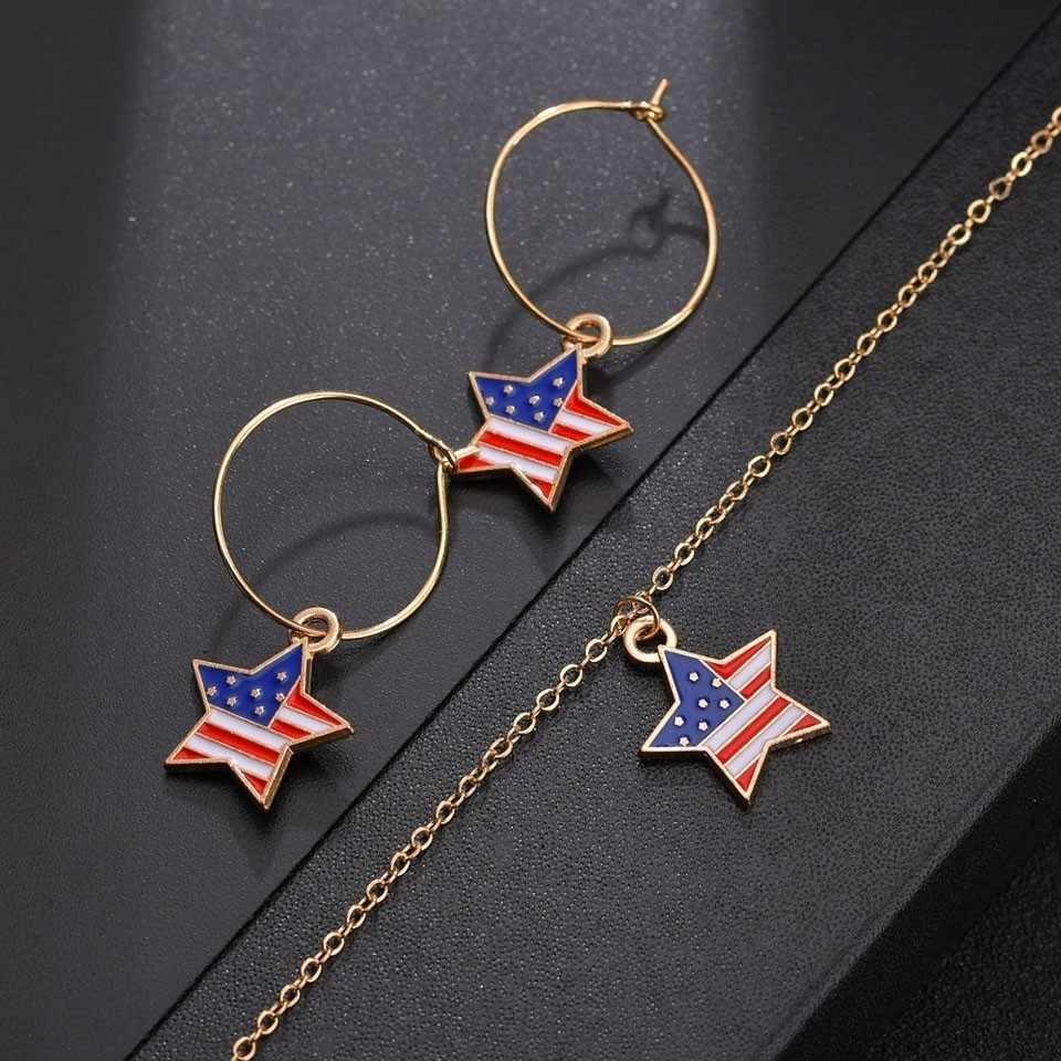 YANGQI kobiety moda USA flaga naszyjnik w kształcie serca w kształcie serca projekt, żeński, moda biżuteria dla kobiet wisiorek i naszyjnik biżuteria ślubna