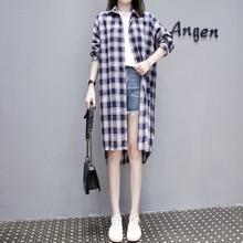 4XL Plus Size Women Long Shirt Korean Fashion 2019 Casual Plaid Long Sleeve Blouse Low-high Design Ladies Sun-proof Blouses цены онлайн