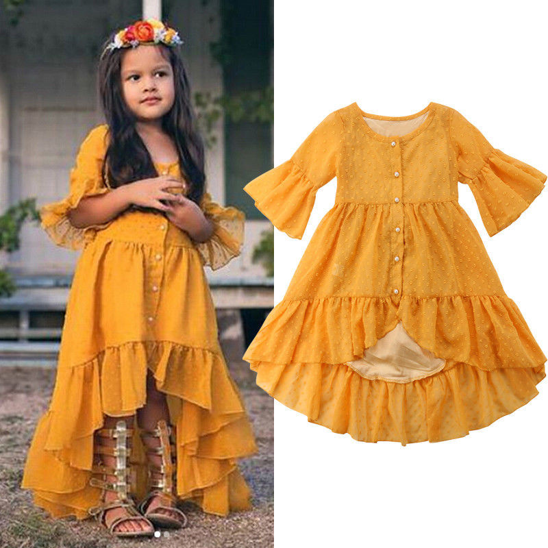 Toddler Kid Baby Girl Clothes Button Boho Round Neck Three Quarters Sleeve Ruffle Princess Party Beach Cotton Dresses One Pieces