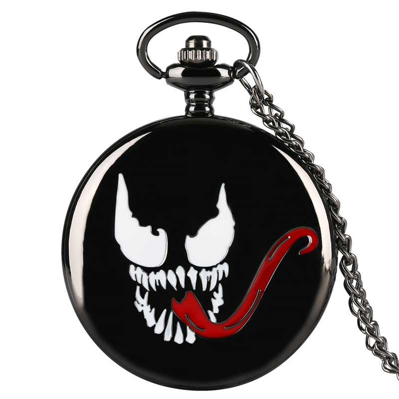 Marvel Series Quartz Pocket Watch Analog Pendant For Men Venom Theme Pocket Watches Fashion Gift For Pocket Watch With Necklace