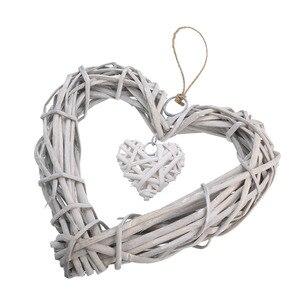 Шикарные плетеные Висячие сердца серые белые Искусственные венки Сделай Сам сердце плетение для свадьбы дня рождения вечеринки Настенное подвесное украшение