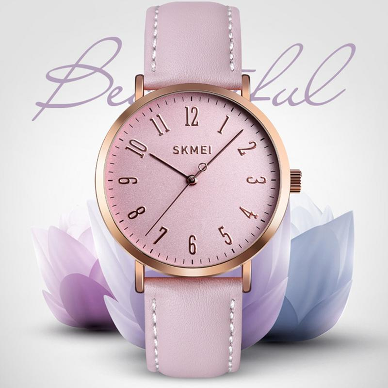 SKMEI Wrist Quartz Watch With Black Leather Band Women Business Waterproof Classic Casual Analog Watches Fashion Thin Case