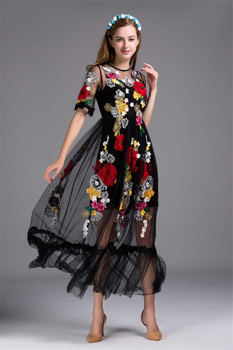 2019 Spring Luxury Flower Appliques Women Black Big Swing Dress Women Runway See -4659