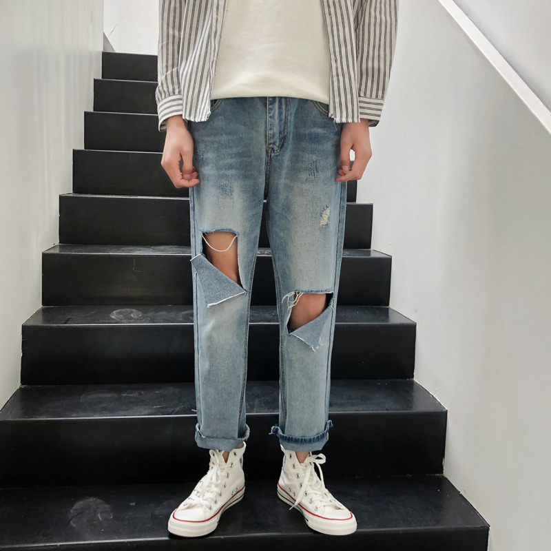 Summer Jeans Men Fashion Washed Casual Straight Torn Hole Denim Pants Man Streetwear Hip Hop Loose Cowboy Trousers Male Clothes