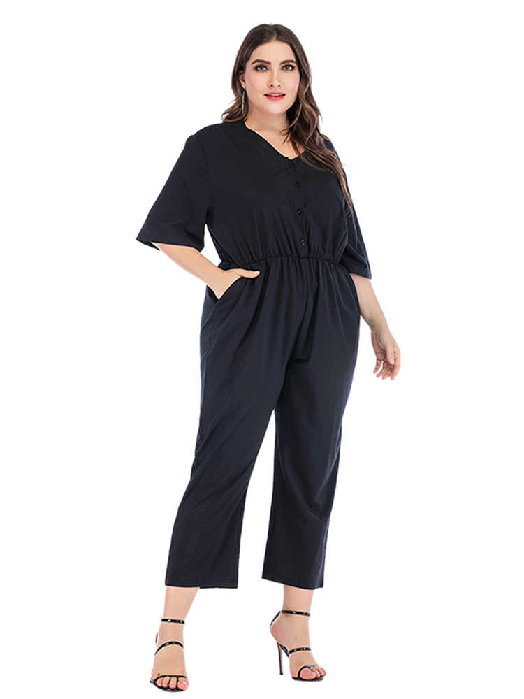 Wipalo Women Plus Size Solid Short Sleeve Jumpsuit V Neck Mid Calf Length Casual Loose Jumpsuit Ladies Spring Summer Rompers