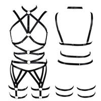 Women Full Body Harness Bra Black Strappy Tops Hollow Out Sexy Lingerie Set Plus Size Elastic Adjust Punk Goth Club Dance Rave