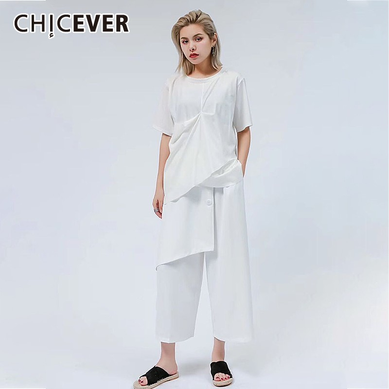 CHICEVER Summer Women Two Piece Set O Neck Short Sleeve Draped Pullover T shirt With Patchwork