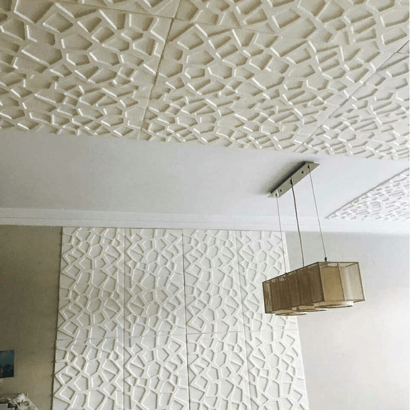 3d Geometric Wall Stickers For Bedroom Living Room Diy White Ceiling Stickers Home Decor Self-adhesive Waterproof Wallpaper
