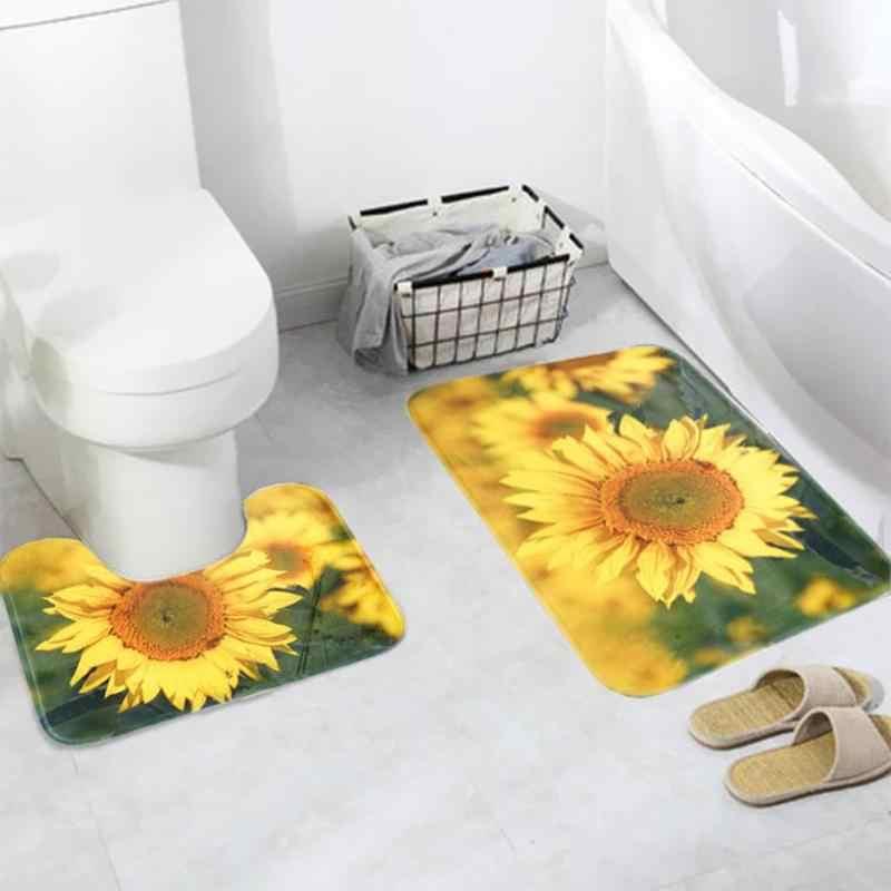 3 unids/set alfombrillas de baño con patrón de girasol, alfombrillas antideslizantes para baño, juego de alfombrillas de baño de poliéster, alfombras lavables para Baño