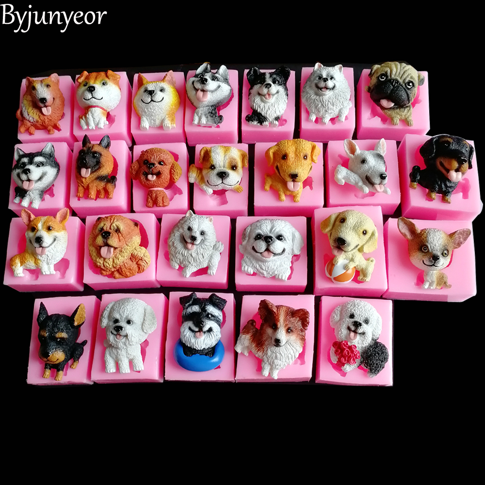 25 Styles New 3D Cute Dog Soap Silicone Candle Molds DIY Baking Fondant Cake Decorating Tools Jelly Candy Chocolate Polymer C340