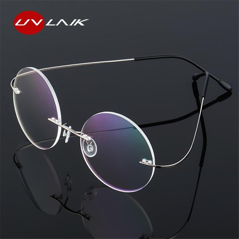 UVLAIK Titanium Round Glasses Frames Men Rimless Flexible Optical Frame Prescription Spectacle Women Alloy Legs Eye Glasses