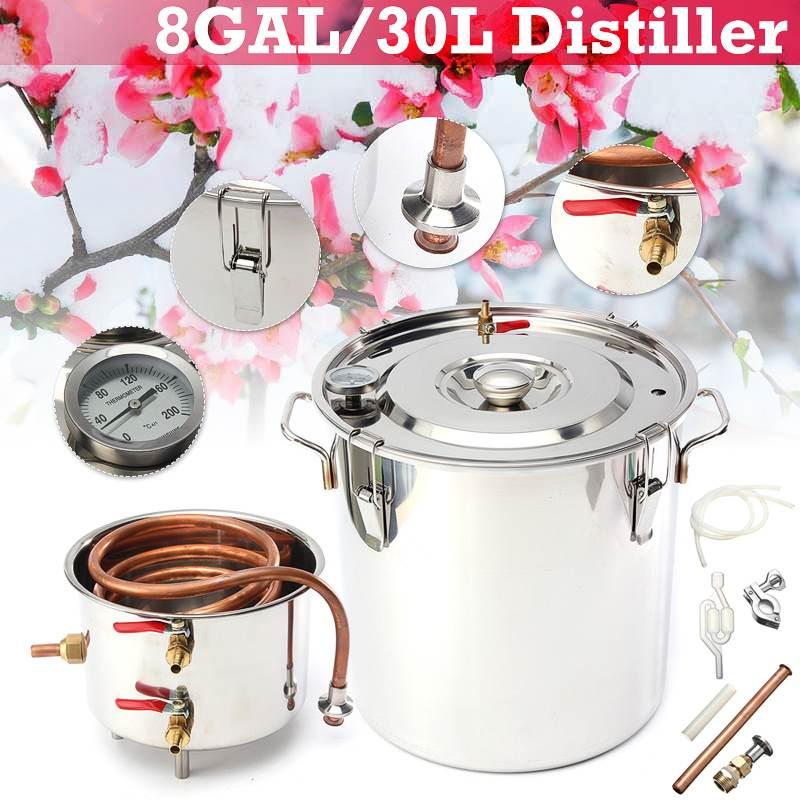 8GAL/30L Inoxidável Álcool Destilador Luar Cobre DIY Kit de Cerveja Cerveja Vinho Óleo Essencial de Água Em Casa