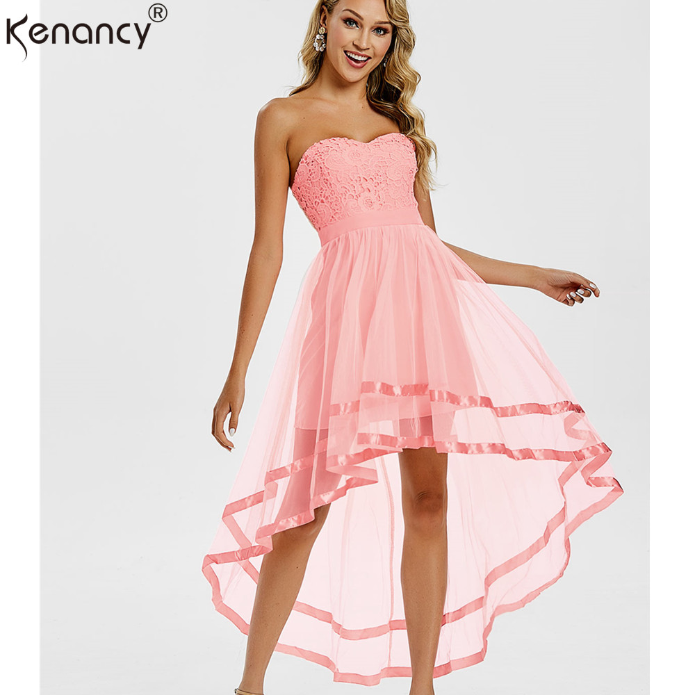 Kenancy Pink Chiffon High Low Party Dress Strapless Dress Sleeveless Short  Front Long Back Party Gowns Summer Women Dresses 2019-in Dresses from  Women s ... 30e6f4616