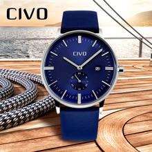 лучшая цена CIVO Mens Watches Genuine Leather Top Brand Luxury Waterproof Minimalist Quartz Watch Clock For Men Business Wristwatch Clocks