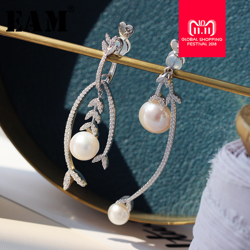 WKOUD EAM Jewelry / 2018 New 925 Silver Micro-Zircon Small Leaf With Natural Pearl Asymmetric Earrings Women Accessories S#R1249 eighetwood car roof shark fin amplified antenna gps navigation dab receiver digital radio car stereo fm am radio combined
