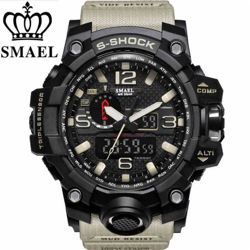 SMAEL Men Sport Watch Dual Display Analog Digital LED Electronic Wrist WatchesSMAEL Men Sport Watch Dual Display Analog Digital LED Electronic Wrist Watches