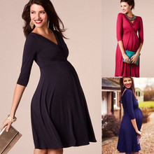 Одежда для беременных; коллекция года; сезон весна-лето; платье для беременных женщин; повседневное сексуальное платье трапециевидной формы с v-образным вырезом и рукавом 3/4; платья размера плюс