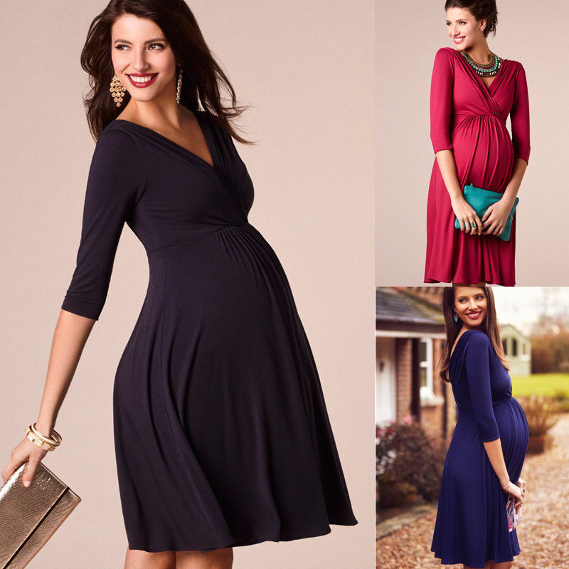 Maternity Clothes 2019 Spring Summer Pregnant Women Dress Casual Sexy V Neck 3/4 Sleeve Solid A-line Dresses Vestidos Plus Size