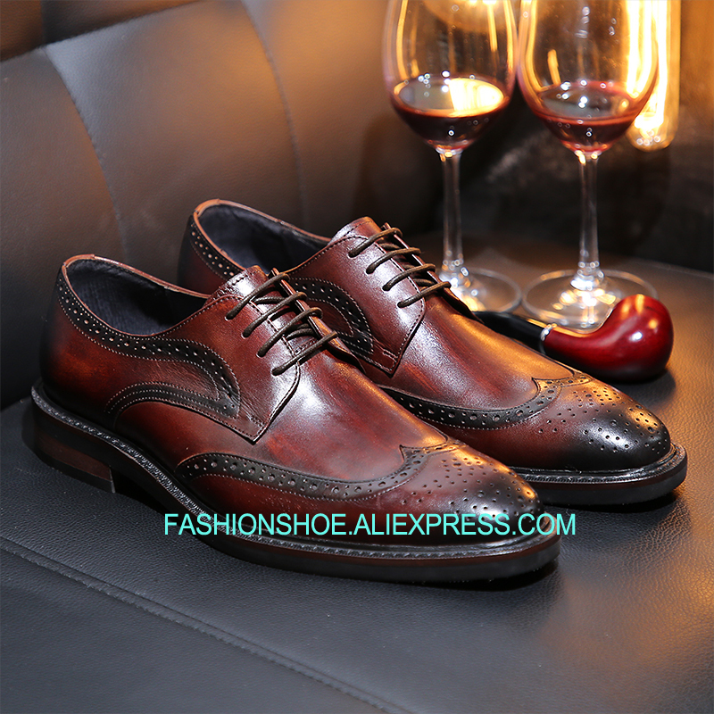 Grano Hombre as As Zapatos 1 Brogue Negocios Hecho Plano Derby 2 Completo Vestir Tallado De Tacón Los Pics Mano Hombres Cuero A TwxqR7