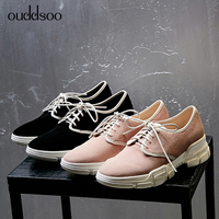 ODS 2019 Spring Luxury Women Sneakers Flats Platform Designer Sneakers Comfortable Casual Shoes Lace Up Genuine Leather Flat 40