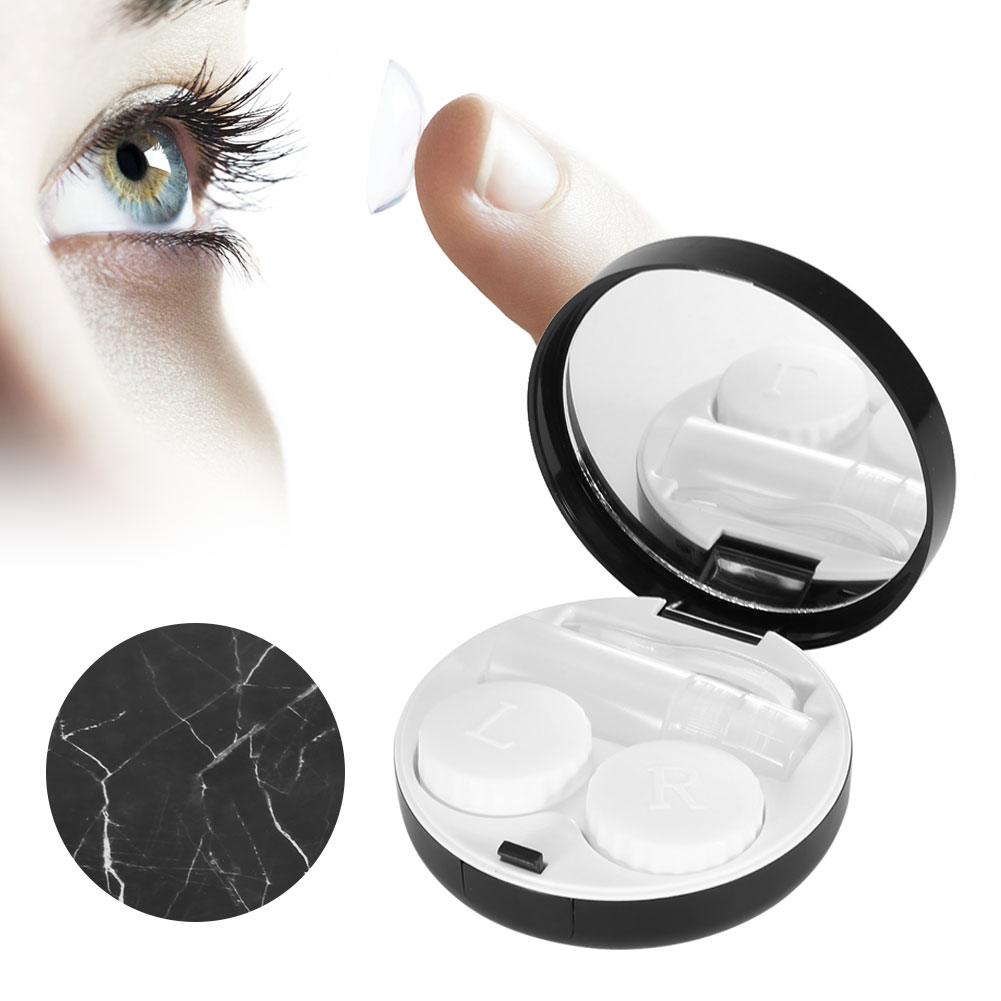 Case Storage Liquid-Bottle Contact-Lens Marble-Surface Box Soaking-Box-Case Portable