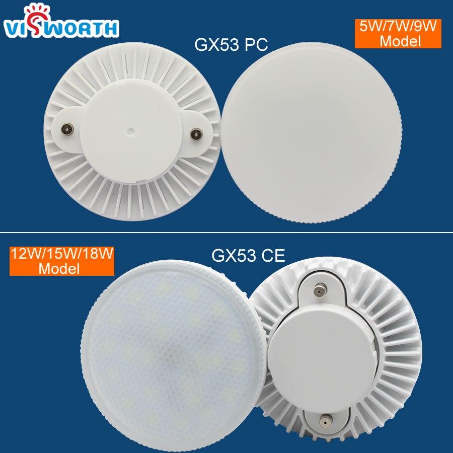 Gx53 LED ampoule lumière sous armoire lumières 5 W 7 W 9 W 12 W 15 W 18 W armoire lumière AC 85-265 V LED spot froid chaud blanc Puck lumière
