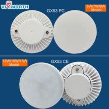 Gx53 lâmpada led, sob armário, 5w, 7w, 9w, 12w, 15w, 18w, roupeiro holofote led de luz ac 85 265v, luz branca e quente
