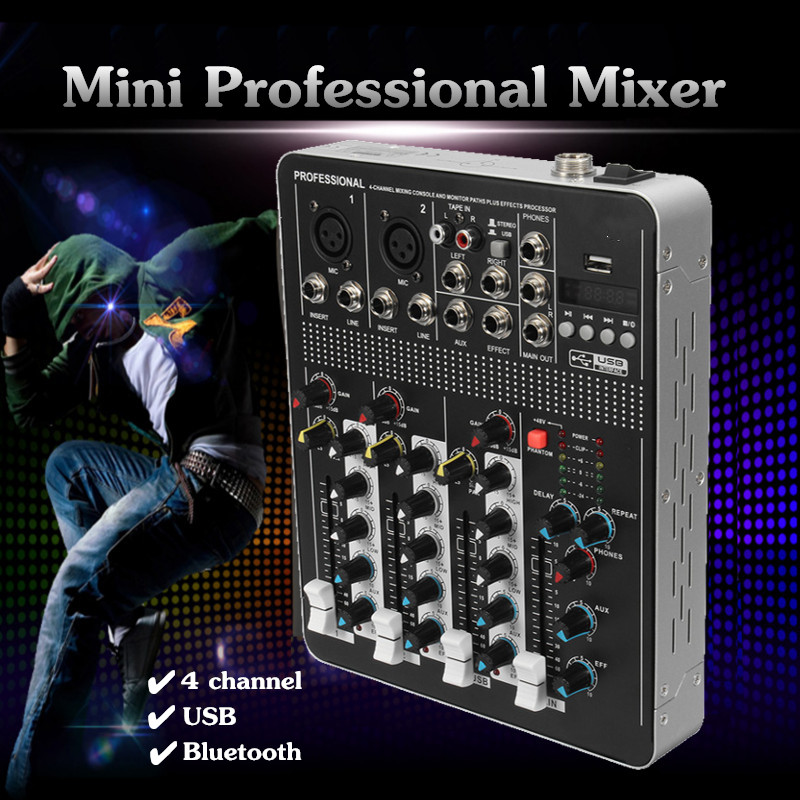 EntrüCkung Leory Bluetooth Professionelle 4 Kanal Dj Digital Mixer Controller Mit Usb Digital Delay Mini Audio Dj Mezclador Gain Amcontrol Dj-equipment Unterhaltungselektronik