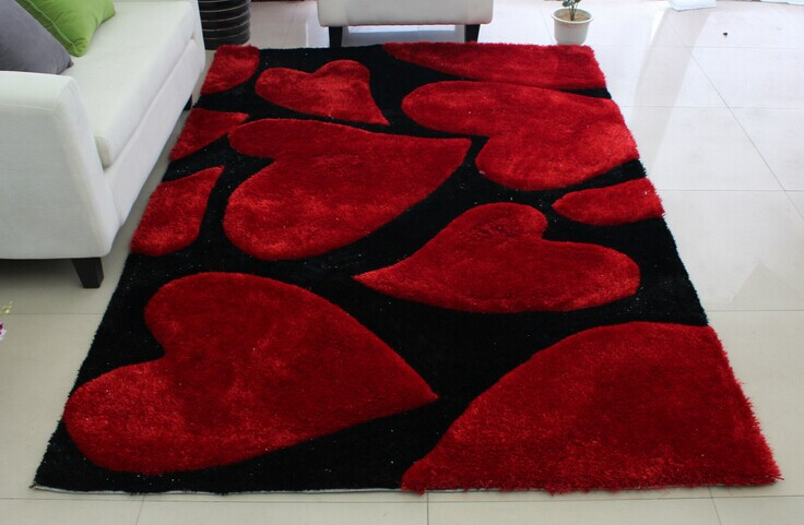 Luxe Rectangle coeur Stretch fil tapis Shaggy Long Hai géométrique tapis salon siège Pad fourrure zone tapis décor à la maison